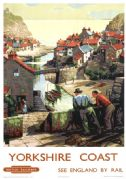Yorkshire Coast, Staithes, Scarborough. Vintage BR Travel poster by 'B'